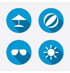 Beach holidays icons umbrella and sunglasses vector