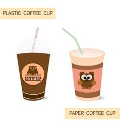 Plastic and paper coffee cups vector