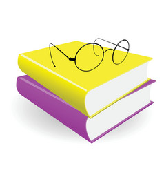 Spectacles and two books on a white background vector