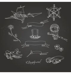 Steampunk chalk board vector
