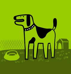 Dog in green vector