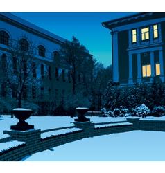 Winter evening in city vector