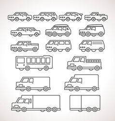 Cart types outline icons vector