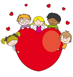 Group of children with a heart vector