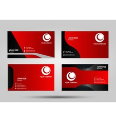 Red business card set vector