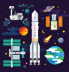 Space industry elements vector