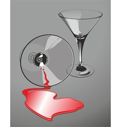 Heart-shaped wine spill vector