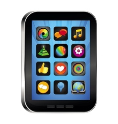 Tablet pc with app icons vector