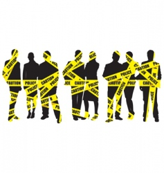 Police caution tape with people vector