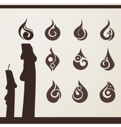 Fire flame set for design vector