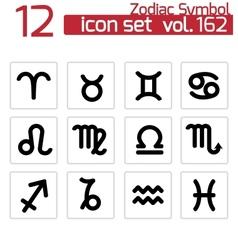 Black zodiac icons set vector