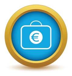 Gold bag with euro icon vector