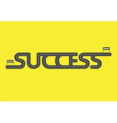 Start to finish success road on yellow background vector