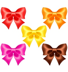 Silk bows in warm colors vector