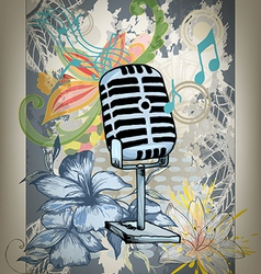 Microphone hand drawn design card vector