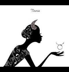 Zodiac sign taurus fashion girl vector