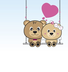 Wedding bears sitting on a swing vector