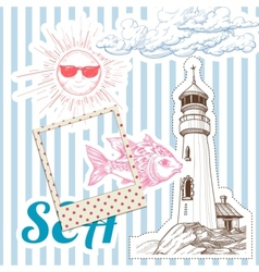Vacation at sea background marine elements vector