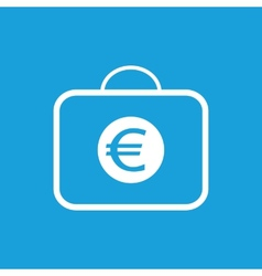 Bag with euro white icon vector