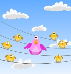 Flock of birds sitting on wires vector