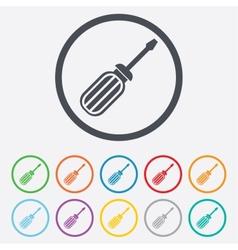 Screwdriver tool sign icon fix it symbol vector