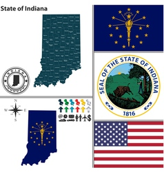 Map of indiana with seal vector