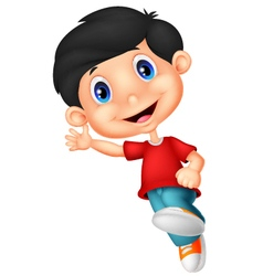 Happy little boy cartoon vector
