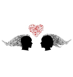 People heads with musical notes vector