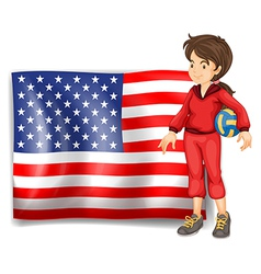 A sporty girl and the flag of the usa vector