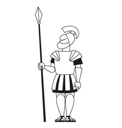 Ancient warrior pikeman bw vector