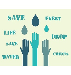 Save water poster concept with drops and hands vector