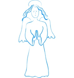 Blue outline sketch of praying angel vector