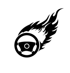 Black and white burning automobile steering vector