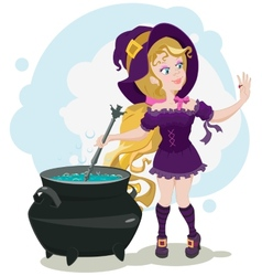 Cute witch cooks potion and admires ring vector
