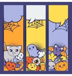 Halloween kawaii vertical banners with cute vector