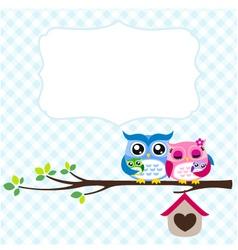 Owl family spring vector