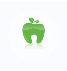 Ecological symbol of human tooth as a green apple vector