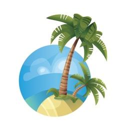 Tropic ocean island lanscape vector