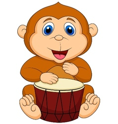Cute monkey cartoon playing drum vector