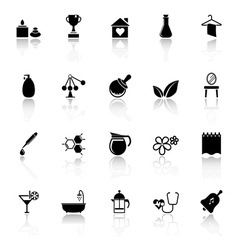 Spa treatment icons with reflect on white vector
