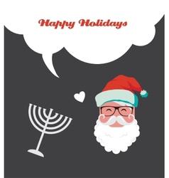 Happy holidays jewish holiday menorah and xmas vector
