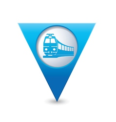 Train icon on map pointer blue vector