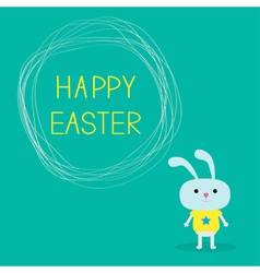 Easter bunny and scribble speech bubble vector