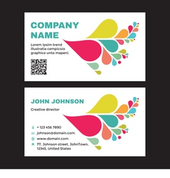 Business visit card with abstract colored petals vector