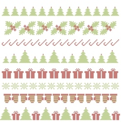 Christmas embroidering elements vector