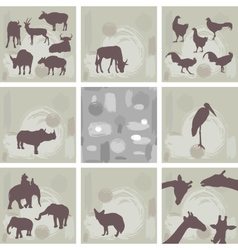 Large set ofafrican animals and abstract seamless vector