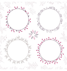 Set of floral frames in brown colors vector