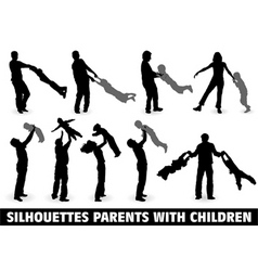 Silhouette happy family vector