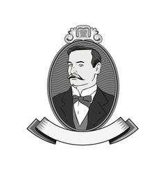 Victorian gentleman in circle vector