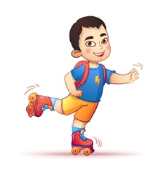 Little asian boy riding on roller skates happy vector